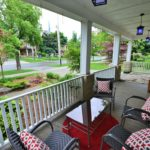 Large covered veranda at rental apartment 380 Dufferin Ave, London, ON